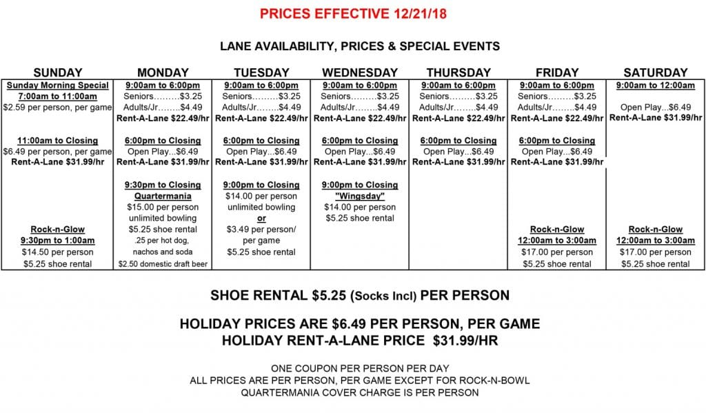 Bowling Hours And Prices