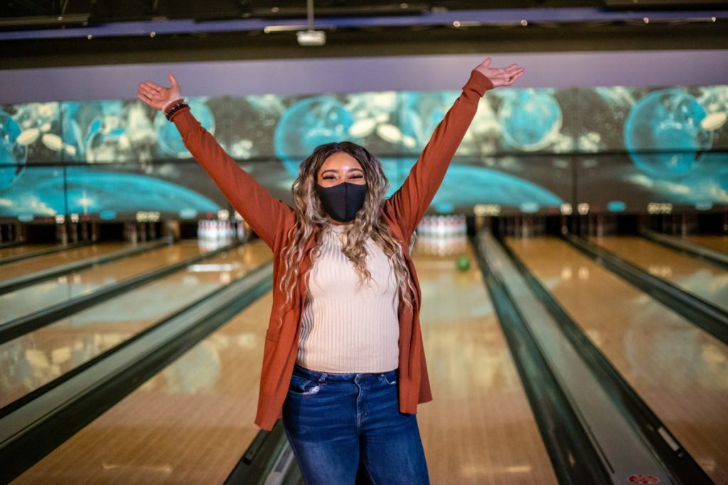 bowling with a mask